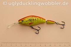 Wobbler Ugly Duckling 7,5 cm schwimmend zweiteilig Tiefläufer BT GOLD (Bachforelle gold)