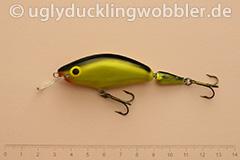 Wobbler Ugly Duckling 7,5 cm schwimmend zweiteilig Mittelläufer BGI (Schwarz-gold)