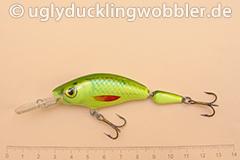 Wobbler Ugly Duckling 7,5 cm schwimmend zweiteilig Tiefläufer SIL CHA (Grün-weiß gelb-grün)