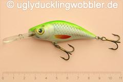 Wobbler Ugly Duckling 6 cm schwimmend Tiefläufer SIL (Grün-weiß)