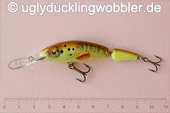 Wobbler Ugly Duckling 6,5 cm schwimmend zweiteilig Tiefläufer BT CHA (Bachforelle gelb-grün)