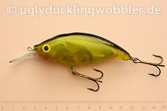 Wobbler Ugly Duckling Rassel 8,5 cm schwimmend reflektierend BGI (Schwarz-gold)