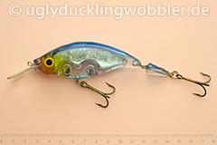 Wobbler Ugly Duckling Rassel 11,5 cm schwimmend zweiteilig reflektierend BIS (Weißfisch blau-weiß)
