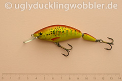 Wobbler Ugly Duckling 7,5 cm schwimmend zweiteilig Mittelläufer BT GOLD (Bachforelle gold)