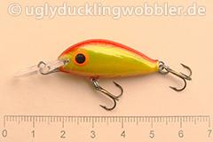 Wobbler Ugly Duckling 3,5 cm schwimmend  DFYR (Doppel-rot-gelb)