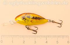 Wobbler Ugly Duckling 2,8 cm schwimmend  BASS GOLD (Schwarzbarsch gold)