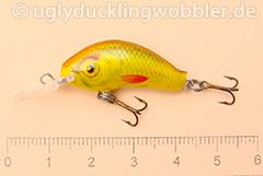 Wobbler Ugly Duckling 2,8 cm sinkend  SIL GOLD (Grün-weiß gold)