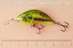 Wobbler Ugly Duckling 4 cm sinkend  BASS CHA (Schwarzbarsch gelb-grün)