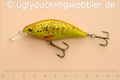 Wobbler Ugly Duckling 6 cm schwimmend Mittelläufer BT GOLD (Bachforelle gold)